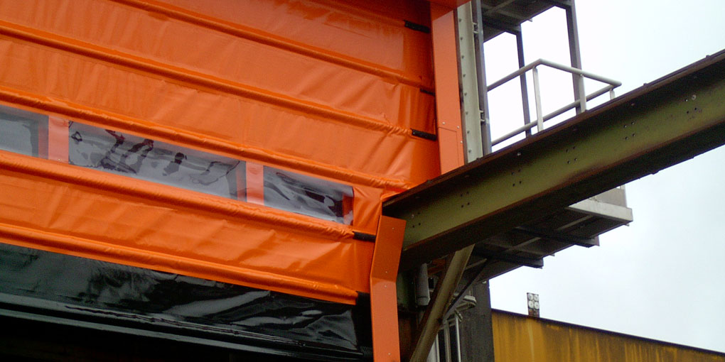 Transparent overhead crane door