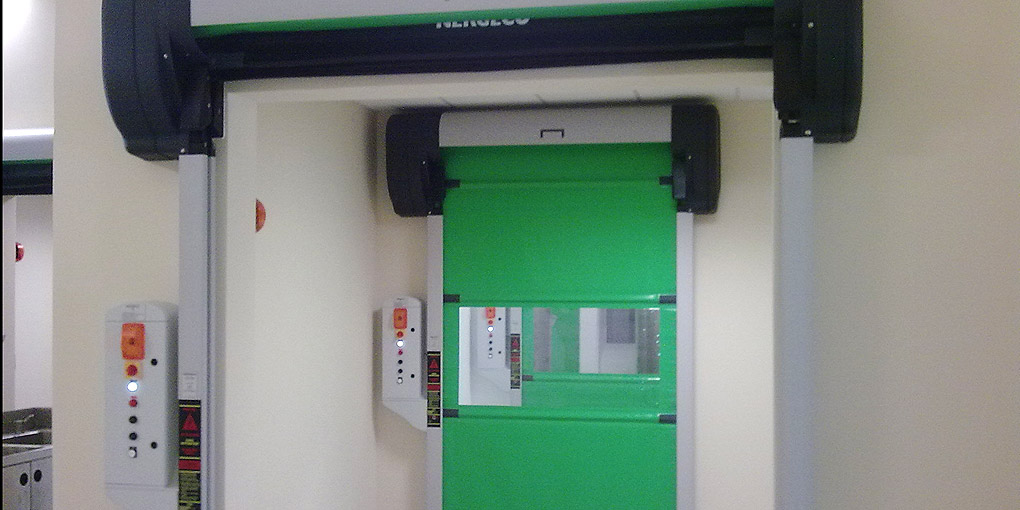 Highly-partitioned food processing environments, this Nergeco Entrematic high-speed door is perfectly suited