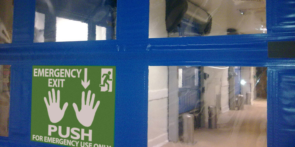 Flexible door for clean room emergency exit